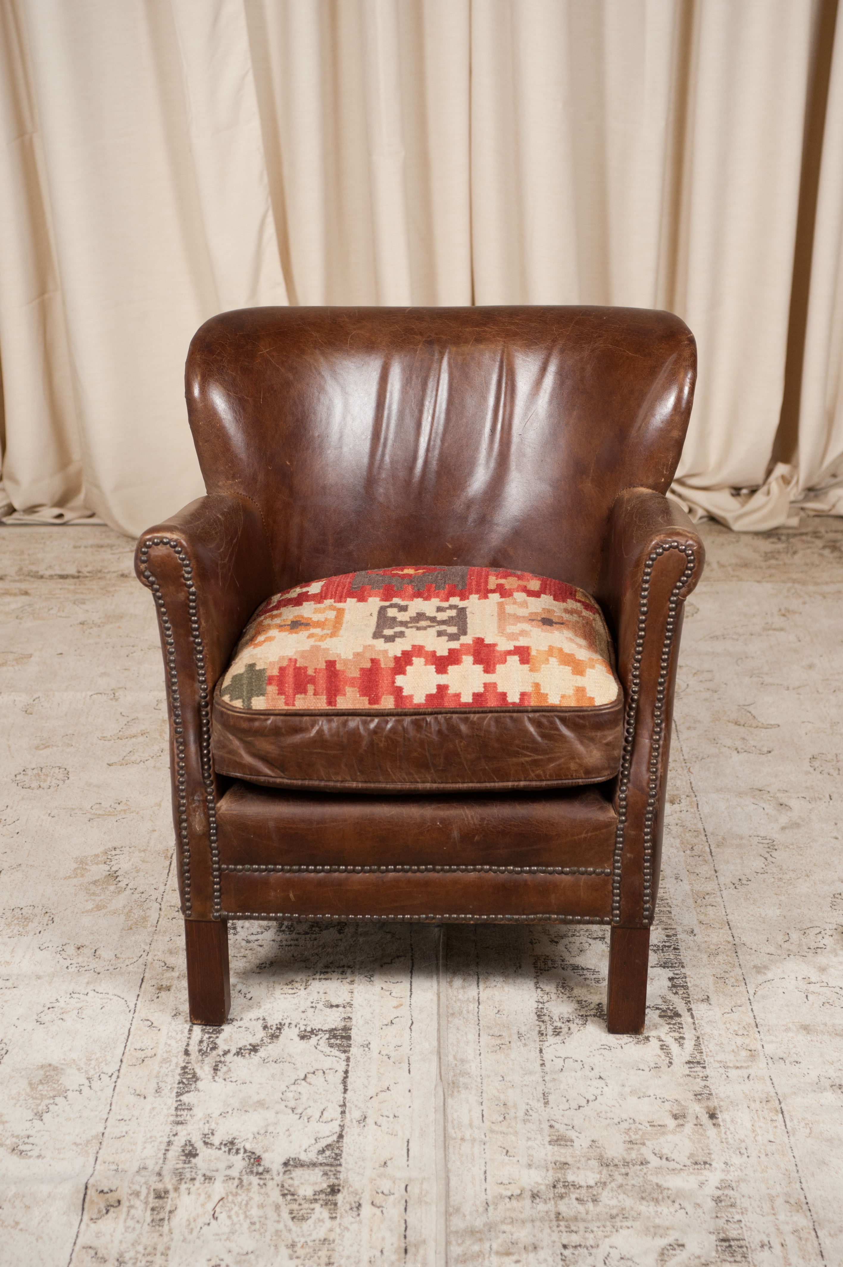 Incredible Brown Leather Armchair With Kilim Seat Download Free Architecture Designs Rallybritishbridgeorg