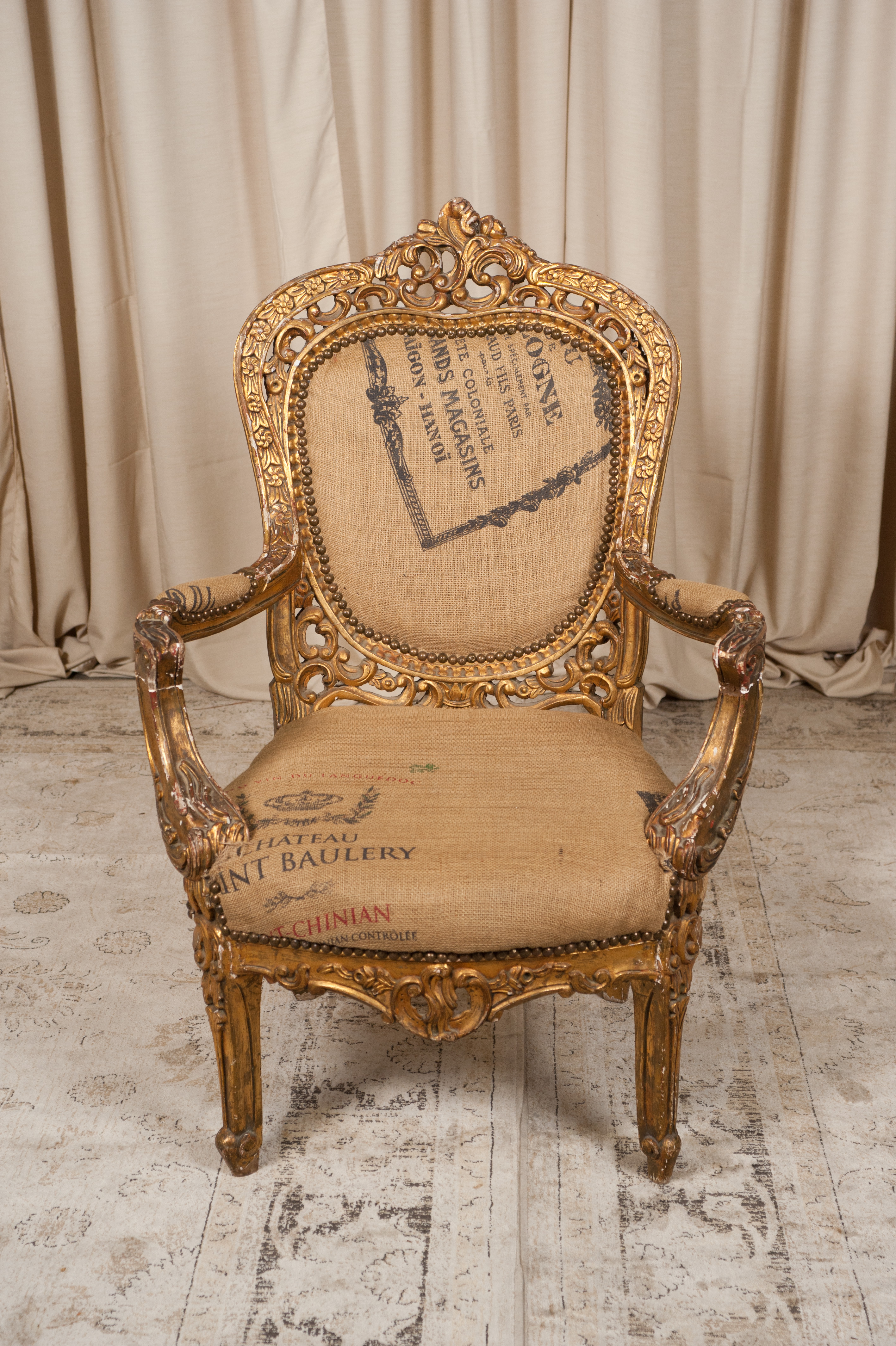 french linen armchair randal events