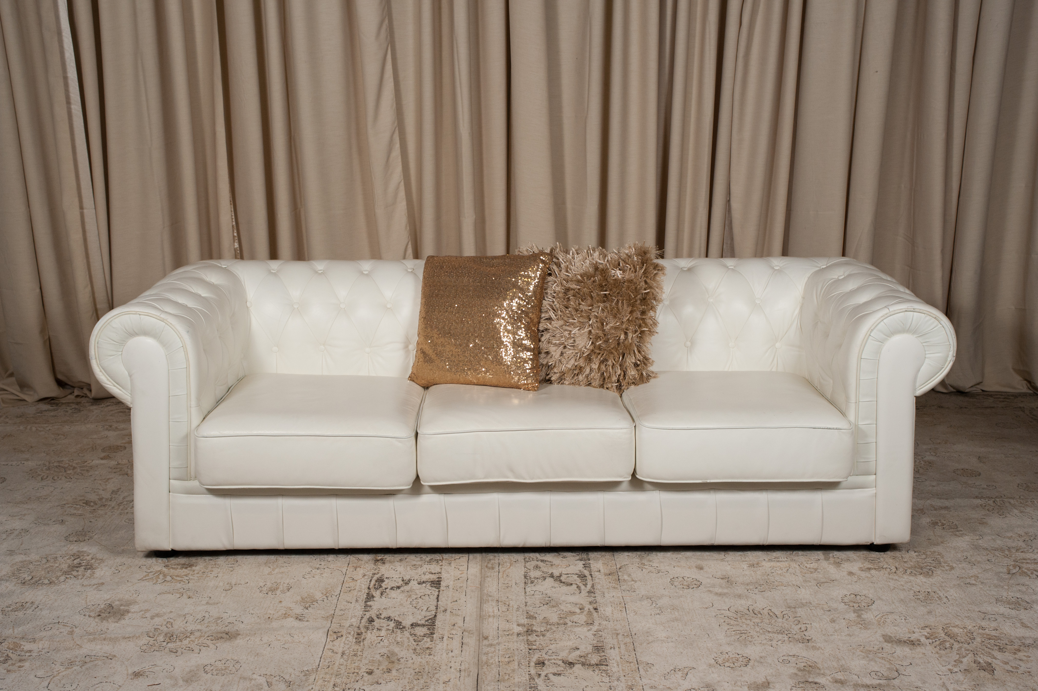 White Leather Chesterfield Sofa Randal Events