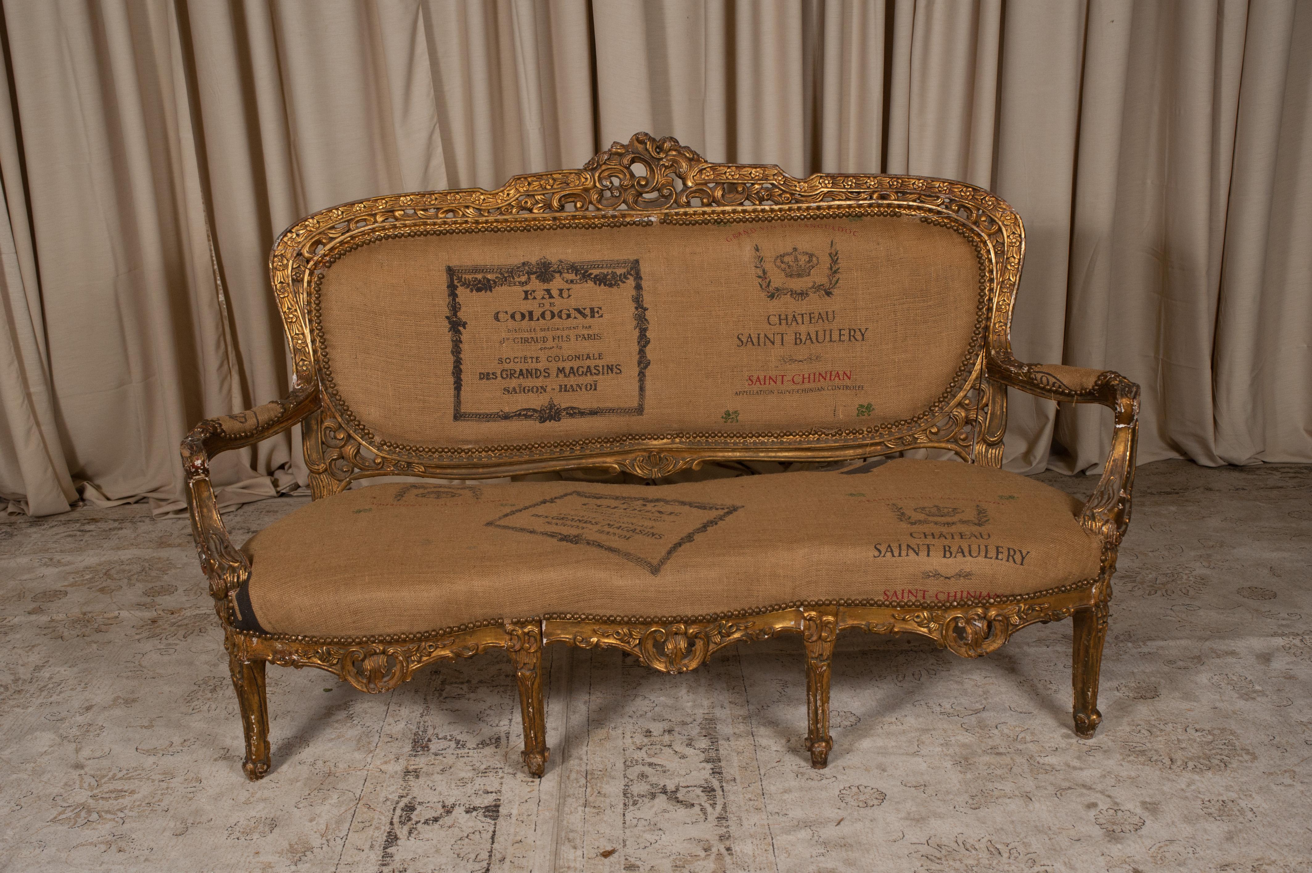 French Burlap Sofa